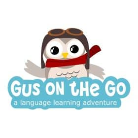Gus on the Go logo. This app is great for teaching kids a foreign language!