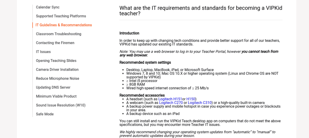 This image shows the IT requirements to teach with VIPKID