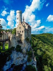 A German castle in a forest. German is a popular language, and you can explore Germany easier if you speak German.