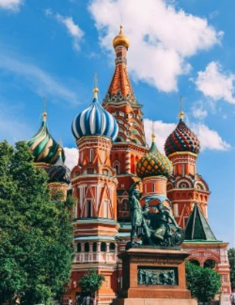 A traditional Russian Orthodox church with colorful spires. Russian is one of the most spoken languages in the world, and you can learn Russian online!