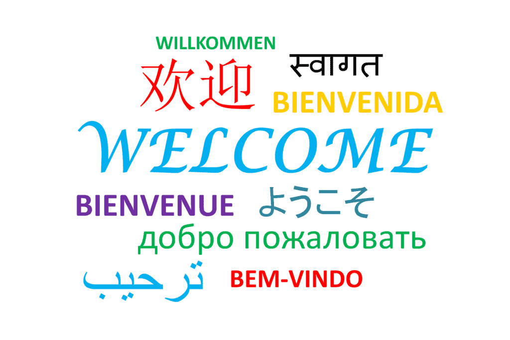 """This pictures shows how to say """"welcome"""" in many different languages."""