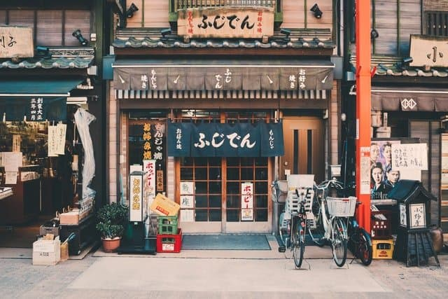 The outside of a Japanese cafe. Learn Japanese in Japan for a true cultural experience.