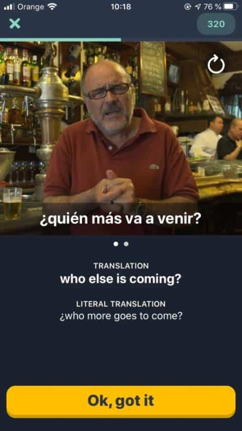This is a screenshot of the official Memrise Spanish course in the iOS app. The Memrise Spanish course has a lot of great audio and video selections to accompany the content.