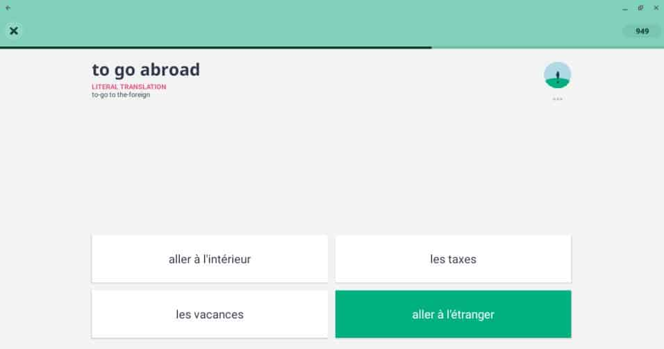 This is a screenshot in the Memrise French course in the Android app.