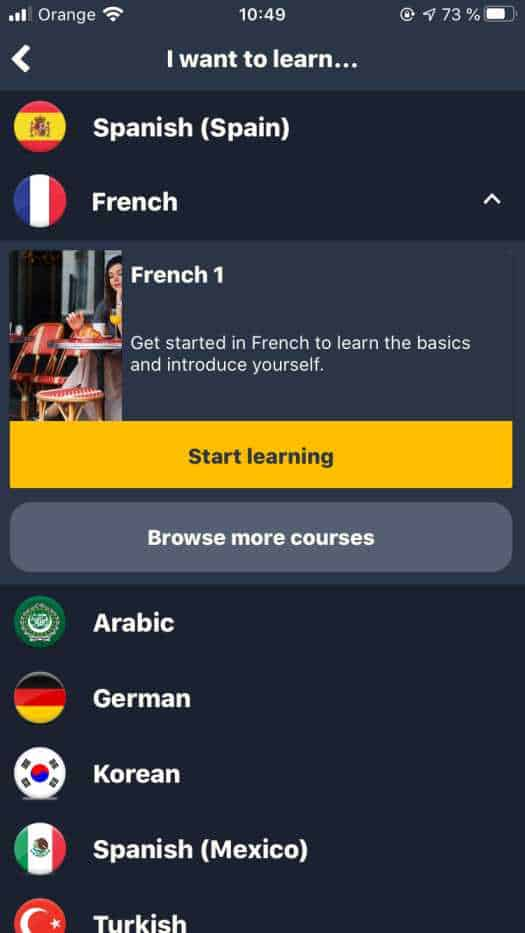 This is a screenshot of the Memrise French course on the iOS app. All of the official Memrise courses are on the app, and they are really easy to find.