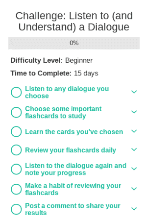 A screenshot of the different Mosalingua app challenges. These challenges help you explore the different features of Mosalingua.