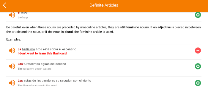 This is a screenshot of a MosaLingua grammar lesson. MosaLingua allows you to add words and phrases from the lessons to your flashcard lists. This is really convenient for practicing difficult concepts!