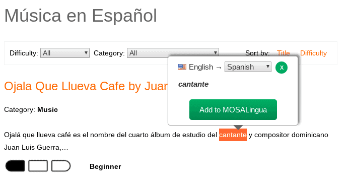 On the MosaLingua website, you can highlight any word and automatically translate it. This is a screenshot of MosaLingua Spanish.