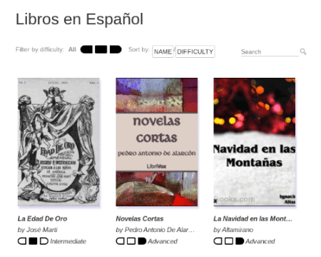 A screenshot of the MosaLingua reading section. MosaLingua has a selection of books to learn a language, as well as audiobooks.