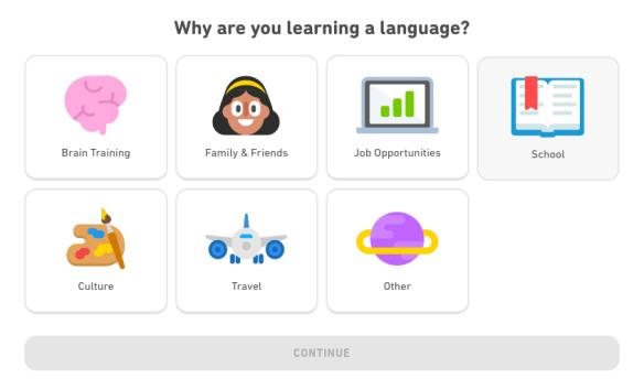 This screenshot shows the different ways to use Duolingo. You can learn a language for fun, business, school, travel, or any other reason! Duolingo courses cater to your needs.