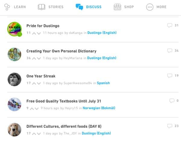 The Duolingo Forum allows you to connect with other language learner. This is a screenshot of the forums and shows different conversation topics.