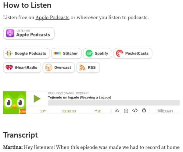 Duolingo Podcasts are available on a lot of different platforms. This shows the Duolingo Spanish podcast.