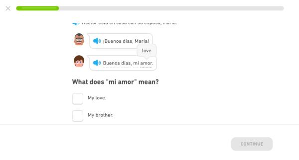 This screenshot shows the format of Duolingo stories. They look similar to a text message conversation.