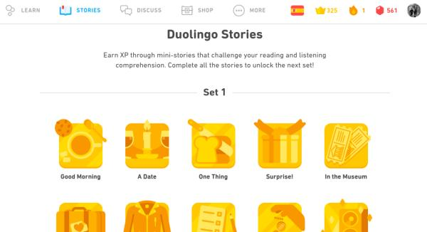 Duolingo stories help you get more out of your language courses. They have audio and help you learn words and phrases in different contexts.