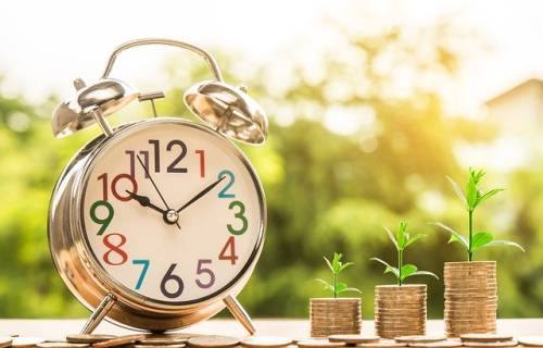 A clock with money growing next to it. Since you set your own Palfish pay rate, you can earn anything you want!