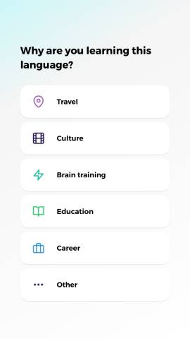 This screenshot shows the different types of vocabulary you can study with the Drops language app.