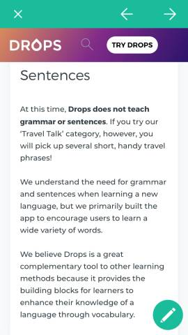 This shows an explanation screen in the Drops language app. When you're learning a language with Drops, you only learn vocabulary. You do not learn grammar or other aspects of your target language.