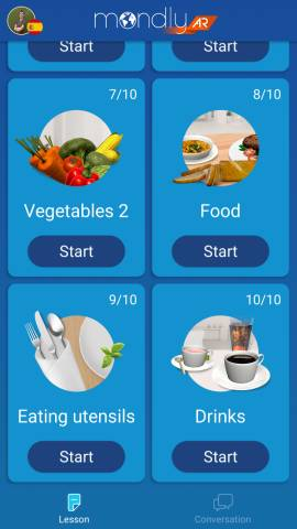 This screenshot shows the different lessons available in the Mondly AR app. The screenshot shows the vegetables, food, eating utensils, and drinks lessons.
