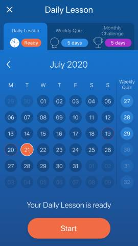 A calendar within the Mondly app. This calendar shows the Mondly free vs premium features available in the language learning app.