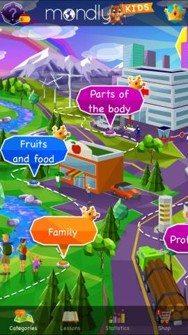This screenshot shows the learning area of the Mondly Kids app. You can choose different lessons and the layout is similar to the regular Mondly premium app.