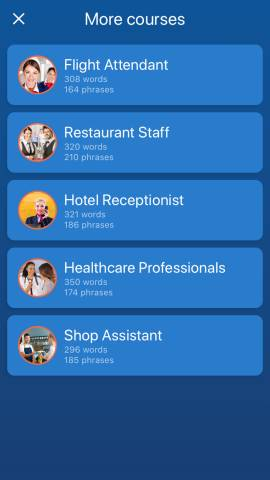 This is a screenshot of the job courses available in the Mondly app. I wanted to include these in my Mondly review because they are really unique!