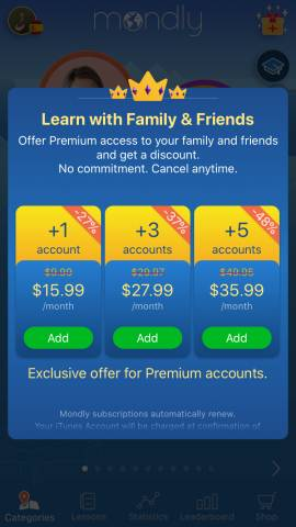 This screenshot shows the Mondly subscription options for family members. These are a great Mondly discount that allow you to learn with your family. You can get up to 5 different accounts.