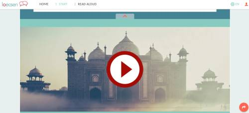 A screenshot of the loecsen.com Learn Hindi Online website. This screenshot shows a video that has an Indian temple.
