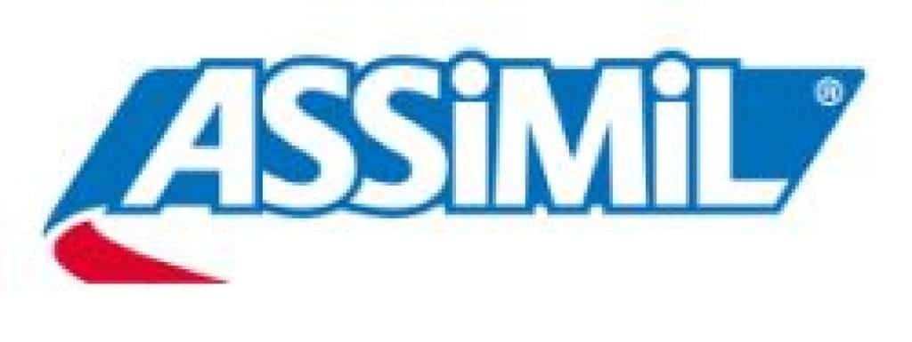The Assimil logo. It contains while text over a blue and red background. Assimil offers a course to learn Arabic.