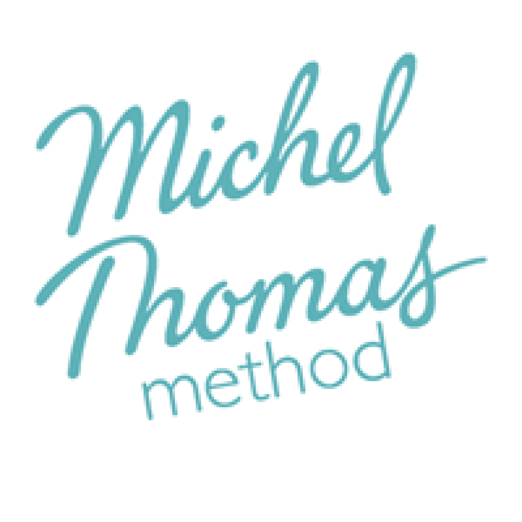 The Michel Thomas Method logo. It consists of these words written in a light blue text. This brand offers a course to help students learn Arabic.