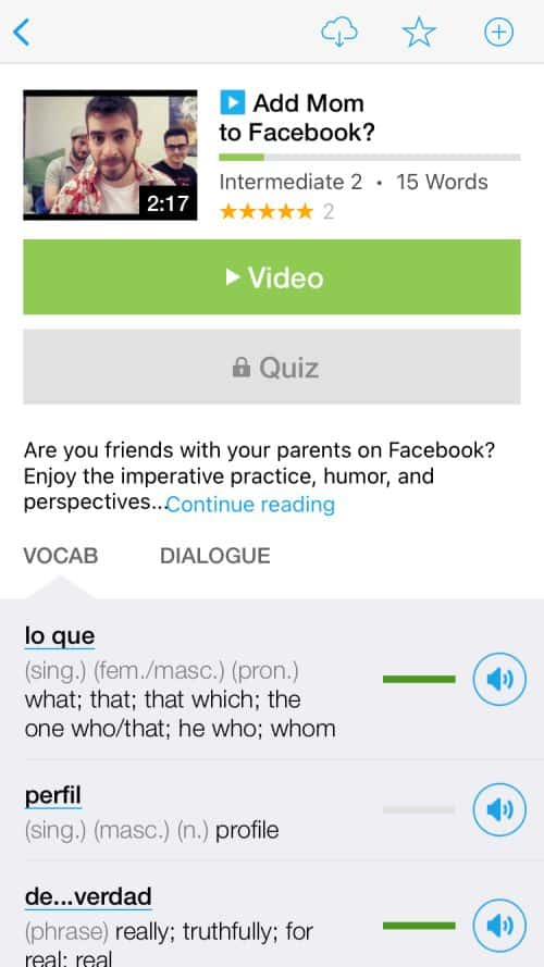 FluentU introduces the vocabulary of each video before you watch it