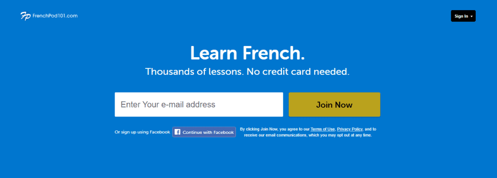 FrenchPod101 language learning app homepage