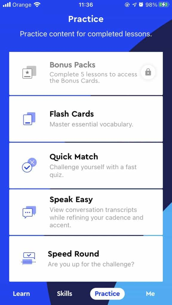 Pimsleur Subscription Features Screenshot