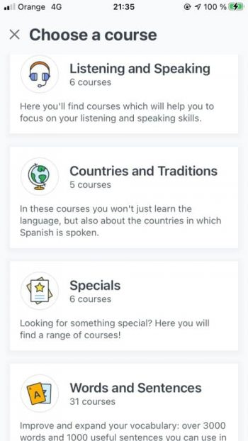 Babbel Spanish review screenshot that shows the courses