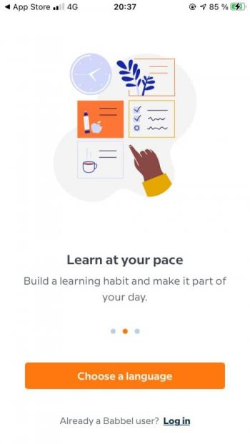 The sign-up and login screen of the Babbel app