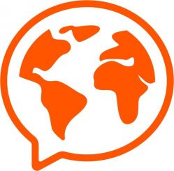 An orange speech bubble with a world map inside of it. This is the Mondly languages app logo.