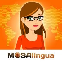 The MosaLingua app and web logo. MosaLingua is a great way to learn a language because it provides a full language immersion experience online.