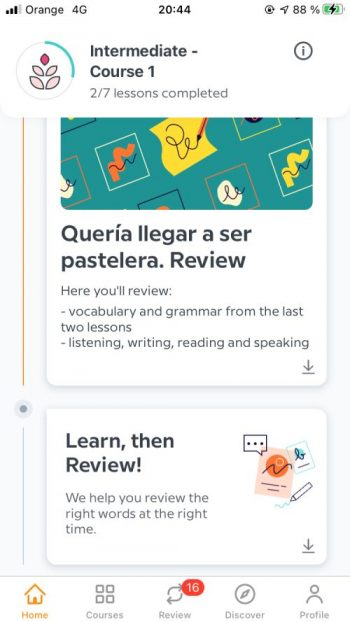 A screenshot showing the structure of a Babbel Spanish lesson