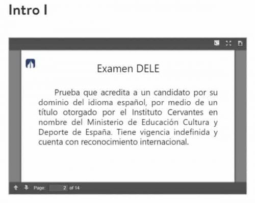 This screenshot shows a description of the DELE exam. The Baselang DELE course helps students prepare for this exam. This Baselang review covers how effective the DELE course is.