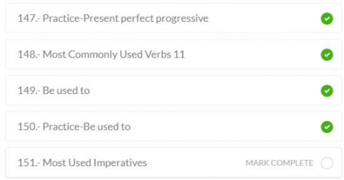 This screenshot shows how to mark lessons complete in Baselang. When a lesson is complete, a green circle appears next to the lesson title. This helps you track your progress through the different Baselang levels.
