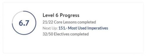 This image shows my progress in Baselang level 6. It shows how many core lessons are complete, what the next lesson is, and how many electives are complete.