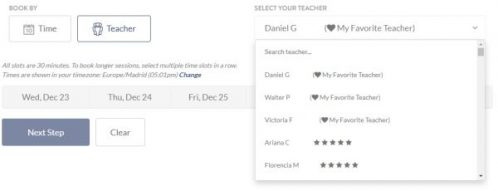 You can mark some Baselang teachers as your favorite. This screenshot shows the class booking screen. When you choose a class by teacher, your favorite teachers appear with a heart icon at the top of the list.