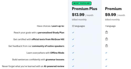A comparison of Busuu Premium vs Premium Plus