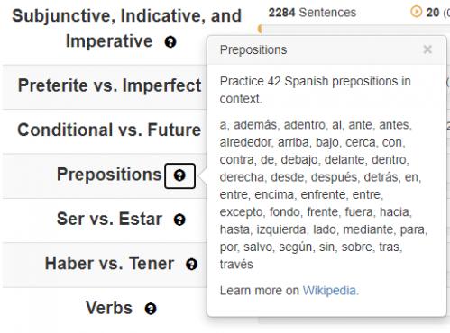 Clozemaster Spanish Prepositions Word List shows all prepositions included in the Clozemaster Grammar Challenges