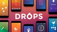 This is the Drops language app logo. There are several phones with screenshots of the Drops app to show the different language activities you can complete with Drops.