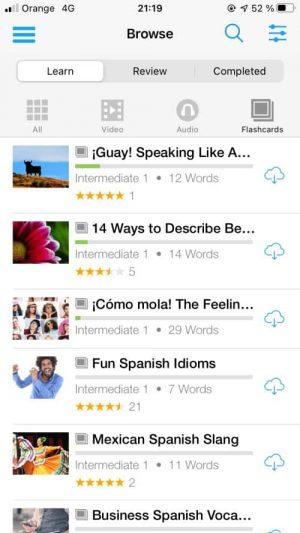 FluentU flashcards can teach you vocabulary, grammar, and idioms