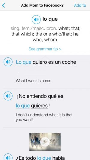 A screenshot of how FluentU helps you review vocabulary and grammar within context