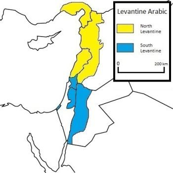 A map showing where Levantine Arabic speakers live. If you want to learn Arabic for a trip to Syria, Palestine, Jordan, or Lebanon, this is the best dialect to learn.