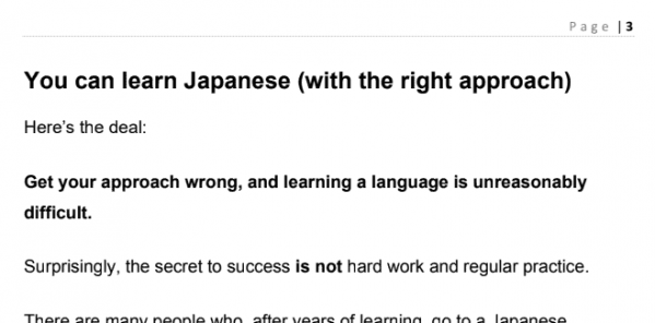 A snippet from the Language Learning Secrets eBook described in this LinguaLift review