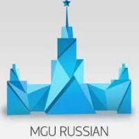 The MGU Russian course logo, which shows a blue paper-like castle. You can learn Russian online with MGU Russian courses.