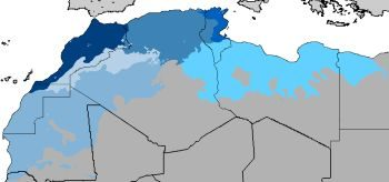 A map showing where Moroccan Arabic is the main language. To learn Arabic from this region, it's important to focus on resources that teach this dialect.